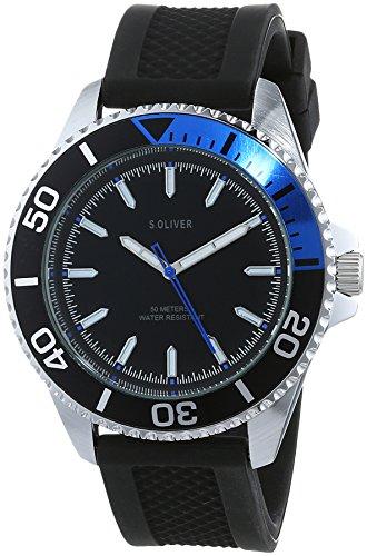 s.Oliver Herren Analog Quarz Uhr mit Silikon Armband SO-3483-PQ