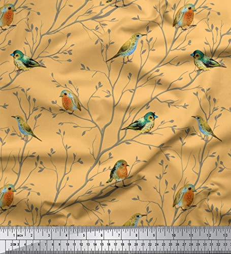 Soimoi Orange Baumwoll-Popeline Stoff Blatter & flowerpecker Vogel Stoff drucken Meter 58 Zoll breit