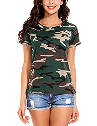 ISASSY Womens Casual Cotton Camouflage Short Sleeve Tops Shirt T-shirt Blouse