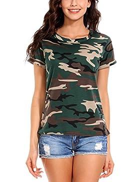 ISASSY - Camiseta - Ajustada - Cuello redondo - Manga corta - para mujer