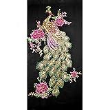 LAMEIDA 1 PCS bestickt Patch Stoff Bügelbild zum Aufbügeln oder Aufnähen Patches Abzeichen Pfau Blume Pailletten Applikation Patches für Kleidung, Jacken, Rucksäcke, Jeans, Baseball Cap