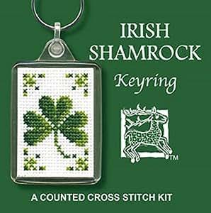 Irish Shamrock Keyring Cross Stitch Kit by Textile Heritage