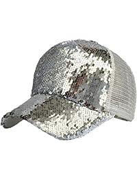3717498354b0b Lenfesh Gorra de Béisbol de Lentejuelas Brillantes Snapback Sombrero de  Verano para Mujer