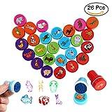 Parsion Tampons Enfants 26pcs, Tampons Animaux, Tampons à Encre Auto-encrage les Enseignants Cadeaux Timbres Jouets Stickers Enfants