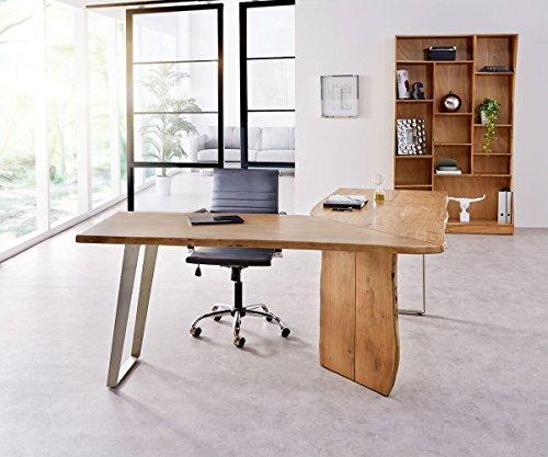 Bürotisch Live-Edge Akazie Natur 170x170 Gestell Silber Baumkante Schreibtisch