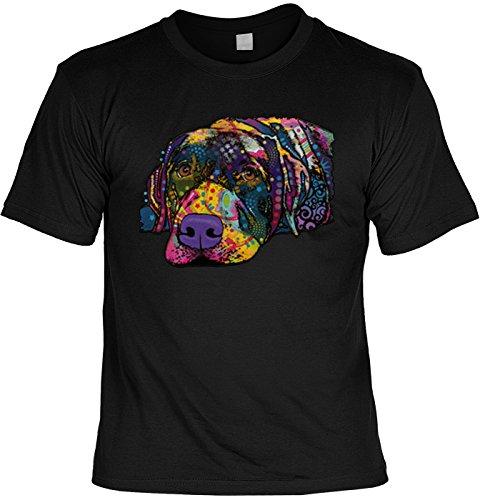 T-Shirt mit buntem Hunde Motiv - Savvy Labrador - Hundebild - Geschenk für alle Tierliebhaber und Hundefans - schwarz Schwarz