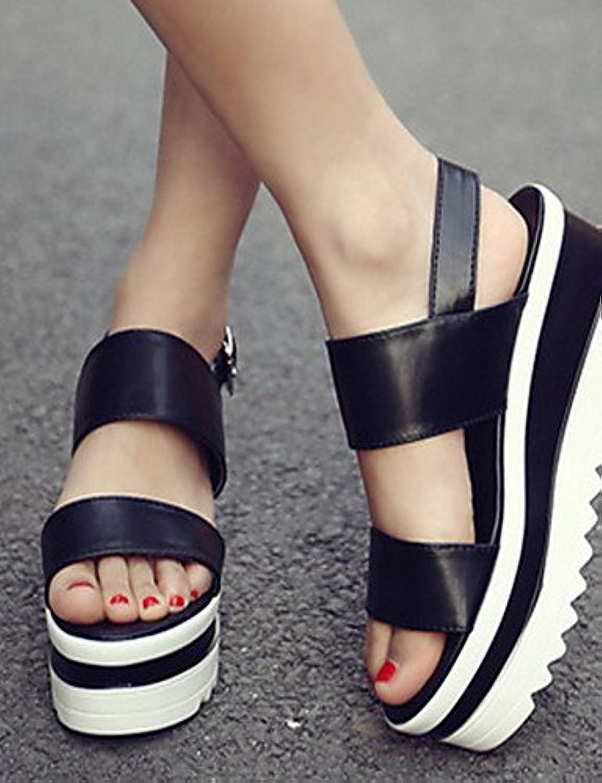 GGX/Damen Schuhe PU Sommer Keile Heels Casual Keilabsatz Magic Tape Schwarz/Weiß/Silber