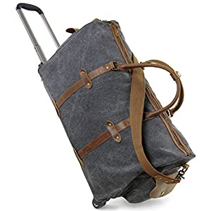 Lifewit Wheeled Holdall Luggage Rolling Duffel Bag Canvas Leather Travel Tote Weekend Bag