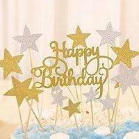 """Decoraciones para tarta con las palabras""""Happy Birthday"""" ypalillos con estrellas doradas y plateadas, 41 unidades con purpurina, de Winko"""