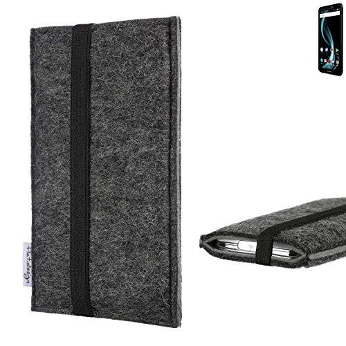 flat.design Handyhülle Lagoa für Allview X4 Soul Infinity L | Farbe: anthrazit/grau | Smartphone-Tasche aus Filz | Handy Schutzhülle| Handytasche Made in Germany