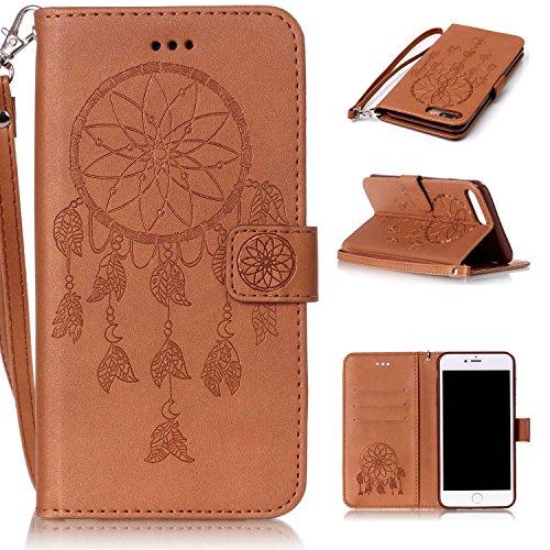 Roreikes Apple iphone 7 Plus Coque, iphone 7 Plus Case (5,5 Pouces), Dreamcatcher Slim Retro PU sac en cuir motif en relief en cuir style du livre étui de téléphone Case Flip Wallet avec sangle portab Brun