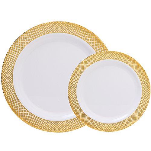 weiß mit Gold Rand Hochzeit Party Kunststoff Teller, Geschirr-Sets: 30Speisetellern und 30Salat Teller-WDF White/Gold Diamond ()
