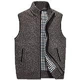 Herren Pullover Weste Sleeveless Cardigan Stehkragen Jacke M-4XL (Farbe : Brown, größe : XL)