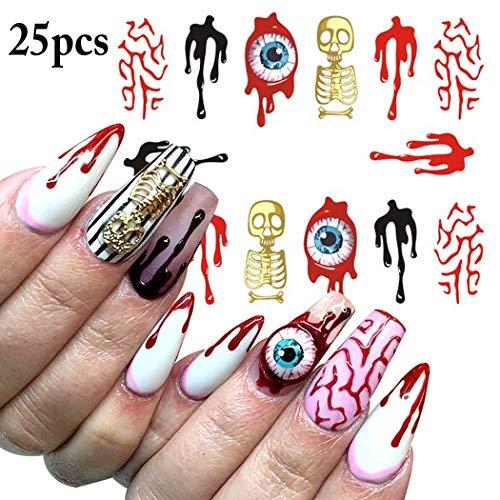 Halloween Nail Art, Kapmore 25 Blätter Nail Sticker Wasser Tattoo Aufkleber Mixed Design Dekorative Nail Art Aufkleber Maniküre Aufkleber für Halloween