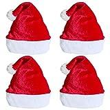 Cappello da Babbo Natale 4 pezzi Cappelli di Natale rossi unisex per adulti e bambini Cappello di peluche invernale in velluto Cappello da donna addensato per addensare il berretto di Natale Capodanno