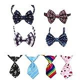 8 Pcs verstellbare Hunde Fliege Schleife Krawatte & Kragen Hunde Katzen Welpen Krawatte Krawatte für kleine oder mittlere Haustiere (Fliege Schleife+ Krawatte)