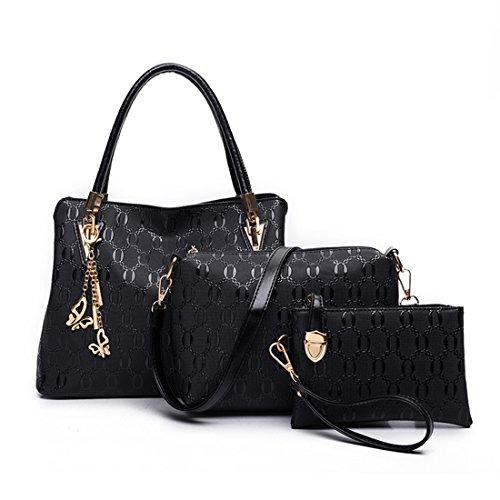 MATAGA mode handtaschen für frauen pu leder handtasche + umhängetasche + handtasche 3pcs tragen taschen Schwarz
