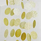 SUNBEAUTY Gold Sparkly Glitter Circle Polka Dots Paper Garlands Hanging Decor Bridal Shower Birthday Wedding Decoration (Gold)