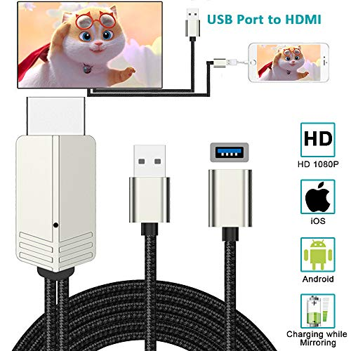 MHL to HDMI Adapter, Weton 6 6ft USB to HDMI Cable Digital AV Video Adapter  1080P HDTV Screen Mirroring Cable, Compatible with iPhone iPad Android