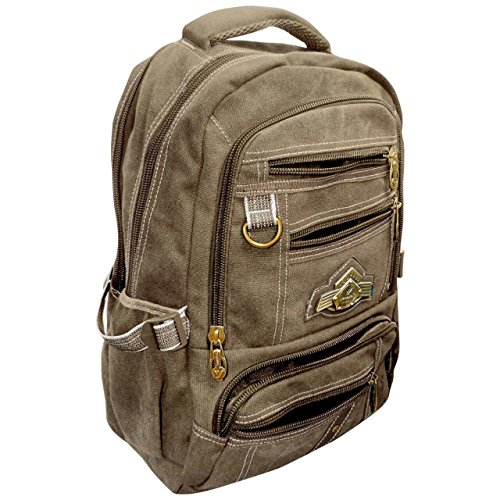 Best canvas backpack in India 2020 Bagathon India Beige Canvas Backpack with Water and Dust Cover Image 3