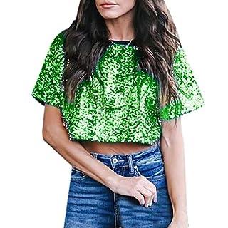 iHENGH Damen Top Bluse Bequem Lässig Mode T-Shirt Frühling Sommer Blusen Frauen Sexy Lose Pailletten Glitter Casual Shirts