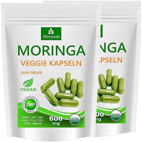 Moringa Kapseln 250 VEGGIE Oleifera hochdosiert 600 mg - 100% vegane Rohkost von MoriVeda (2x125 Kapseln) (Nahrungsergänzung Superfood, Antioxidative)