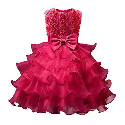 Mädchen Kleid Tüll Schichten Hochzeit Festzug Blumenmädchen Kleider für Hochzeit Party Geburtstag Rosa 1 110 (Billig Kommunion Online Kleider)