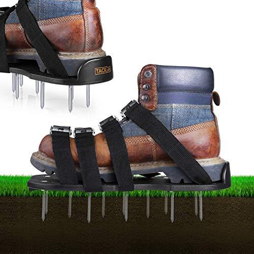 TACKLIFE Zapatos Jardín de Césped, con 4 Correas Ajustables, Hebillas de Aleación de Aluminio, Plástico...