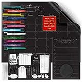 ARTEZA Set Planner Lavagna Nera Magnetica Mensile (43.4x33.3cm Calendario, 22,8x15,2cm Lista Cose da Fare, 22,8x15,2cm Tavola Cotture Cucina, 12 Pennarelli Colorati, 30 Mini Magneti, Spugna, Spray)