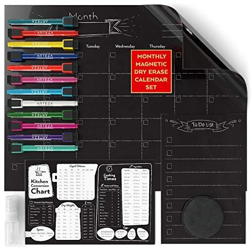 ARTEZA Whiteboard Kalender-Set | Monatlicher Schwarzer Magnetischer Kalender 43 x 33cm | 23 x 15cm Einkaufsliste | 23 x 15cm Umrechnungstabelle |12 Marker, 30 Aktivitätsmagnete, 2 Whitboard-Radierer - Mini-kühlschrank-kalender