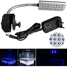 MingDak Kit de iluminación LED con clip para acuario, cuello de cisne flexible ajustable 360grados, lámpara de 24LED, iluminación de color blanco y azul