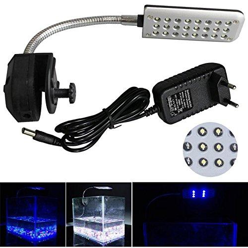 Mingdak LED Aquarium Beleuchtung Leuchte Clip Lampe Fish Tank Lampe Klemmleuchte Aquarien Licht Einstellbare Soft Arm Weiß und Blau 24 LEDs Weiß