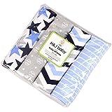 Harson&Jane Calidad premium 100% de algodon estampados suaves y acogedoras mantas del bebe 4 Pack 30 × 30 pulgadas