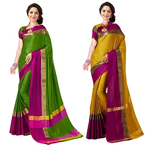 Art Decor Sarees Women\'s Cotton and Silk Saree with Blouse, Free Size(Green and Mustard, Ashi n Combo)