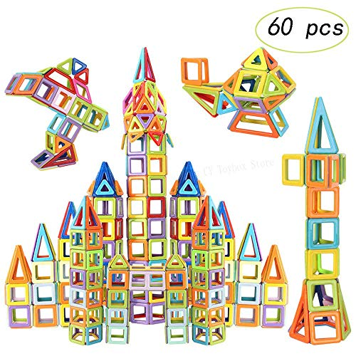 Bobopai 60 Pcs Magnetic Blocks for Kids DIY Building Single Bricks Parts Accessory Construct Magnet Model Educational Toys (Ten Shapes Random Color)