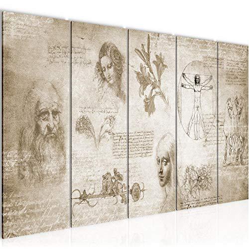 Bilder Werke von Leonardo Da Vinci Wandbild 200 x 80 cm Vlies - Leinwand Bild XXL Format Wandbilder Wohnzimmer Wohnung Deko Kunstdrucke Braun 5 Teilig - Made IN Germany - Fertig zum Aufhängen 700455a