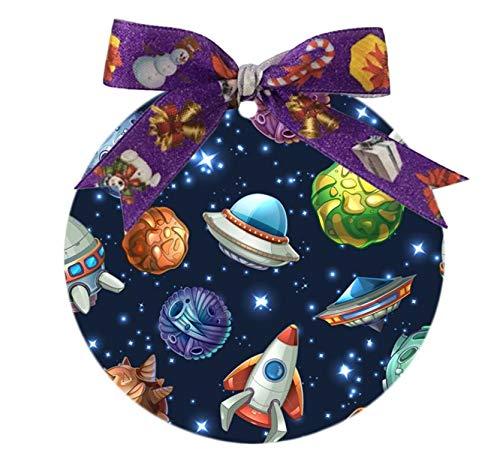 Udoosun Comic Platz mit Planeten und Raumschiffe Custom Einzigartige Personalisierte Rund Porzellan Ornament Hochzeit Weihnachtsdekoration Geschenk (Personalisierte Hochzeit Ornamente)