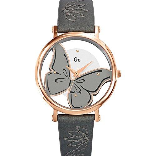 Go Girl Only Damen-Armbanduhr 698668–Quarz–Analog Zifferblatt Silber Armband Leder grau