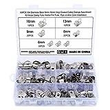 Hseamall Kabelschellen, 304 Edelstahl, vinylbeschichtet, 6 Größen 6 mm - 16 mm, Metall R-Typ-Kabelschellen, Kabelklemmen, P-Clips, Kabelmontage, Schlauchschelle