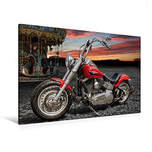 Calvendo Premium Textil-Leinwand 120 cm x 80 cm quer Harley-Davidson Fat Boy Bobber Chopper | Wandbild, Bild auf Keilrahmen, Fertigbild auf echter Leinwand. von Michael Pohl Technologie Technologie
