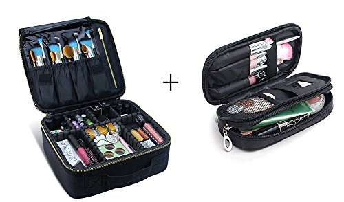 Make-up-Koffer Make-up Reisetasche, MLMSY Kosmetiktasche mit Gold Zipper Make-up Pinsel Organizer Portable Wasserdichte große Make-up Tasche Kulturbeutel für Frauen oder Männer (C:2 PCS)