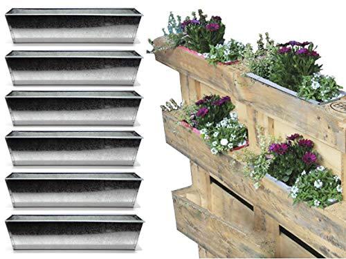 Bada Bing 6er Set Pflanzkasten für Palette Verzinktes Metall Blumenkasten Einsatz für Europalette Pflanzschale Deko Garten Trend 47