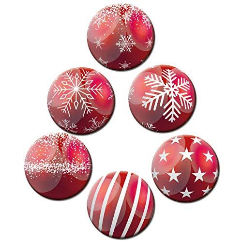 Magnete Weihnachten für Glasmagnettafel Extra Stark Motiv Weihnachtskugel Rot 6er Set Gross Rund 50mm Weihnachtsdeko Kugeloptik
