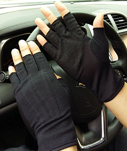 Männer Sommer Halbfinger Fahrradhandschuhe Dünnen Radsport Baumwollhandschuhe Sport GYM Fitness Workout Fingerlose Racing Mitts Anti-Rutsch Silikon Breathable Short Fingerlos Reiten Motorrad (Fingerlose Motorrad Handschuhe Schwarze)