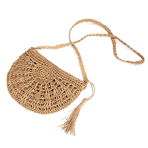 JOSEKO Stroh Crossbody Tasche, Strandtasche Frauen Weben Schultertasche mit Quaste Sommer Strand Geldbörse Korbtasche Einkaufstasche für Arbeit Reise Outdoor Schule(Khaki)