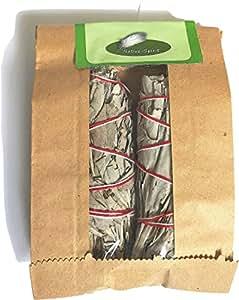 The Original: Native Spirit White SAGE Smudge Stick 4''-4.5'' (25-35gr.) Incense Fresh from California (2)