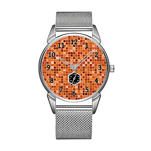Mode Herrenuhr silbrig Edelstahl wasserdicht Uhr Herren Top-Marke Herrenuhr Uhr Shades of Copper 'Watery' Mosaic Tile Pattern Uhren