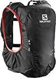 Salomon, Leichter Rucksack 10 L (One-Size) für Bergläufe, Hiking oder Radfahren, SKIN PRO 10 SET, Schwarz (Black/Bright Red), L37996800