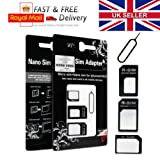 Tech Traders � 4 in 1 Nano SIM Card Adapter Converter to Micro & Standard SIM Card for iPhone 6 5 4 4S 3G 3GS iPad 1,2,3 Tablet Smartphones + Free iPhone Tray Open Eject Pin Tool