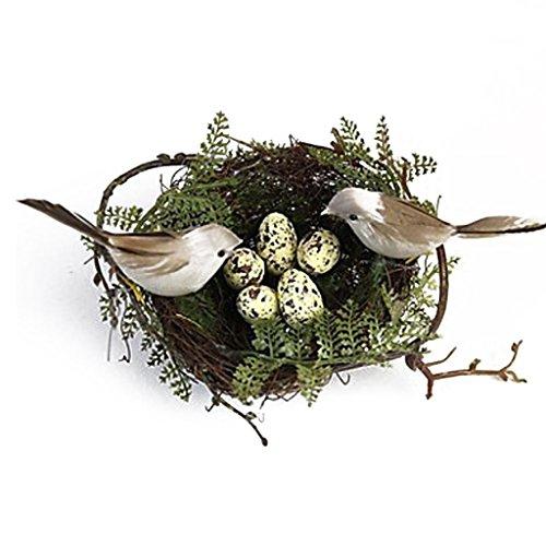 MagiDeal Vogel Nest+2pcs Künstliche Vögel +5pcs Gelbe Vogeleier Eier Haus Garten Baum Deko Set